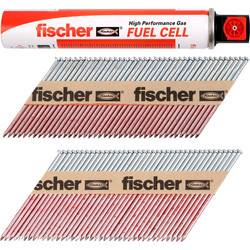 Fischer Fischer 550 Double Galvanised Nail & Gas Fuel Pack 3.1x90mm, 3.1x63mm - 20608 - from Toolstation