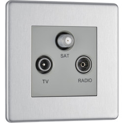 BG BG Screwless Flat Plate Brushed Stainless Steel TV Sockets TV, FM, SAT Socket - 20610 - from Toolstation