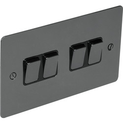 Flat Plate Black Nickel 10A Switch 4 Gang 2 Way - 20839 - from Toolstation