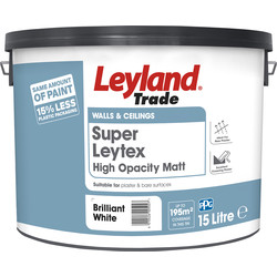 Leyland Trade Leyland Trade Super Leytex Matt Emulsion Paint Brilliant White 15L - 20896 - from Toolstation