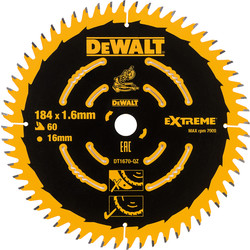 Dewalt DeWalt Fine Circular Saw Blade 184 x 16mm x 60T - 21075 - from Toolstation