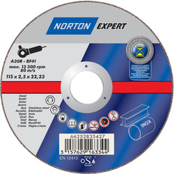 Norton Flat Metal Cutting Disc 115 x 2.5 x 22.2mm - 21095 - from Toolstation