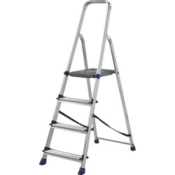 Werner High Handrail Step Ladder LARGE 4 Tread SWH 2.55m - 21106 - from Toolstation