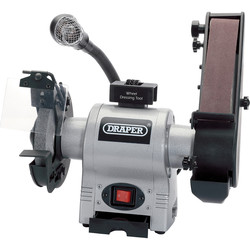 Draper Draper 370W 150mm Bench Grinder with Sanding Belt and Worklight 230V - 21124 - from Toolstation