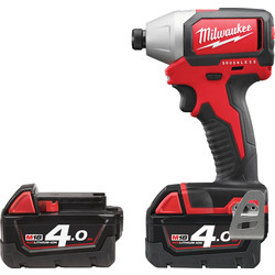 Milwaukee Milwaukee M18BLID-402C 18V Li-Ion Cordless Brushless Compact Impact Driver 2 x 4.0Ah - 21669 - from Toolstation