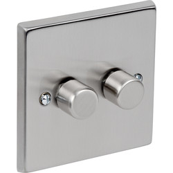 Satin Chrome LED Dimmer 2 Gang 2 Way - 21800 - from Toolstation