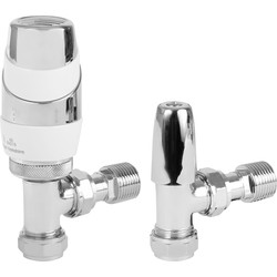 Pegler Yorkshire Pegler Decorative TRV and Lockshield White and Chrome Angled 15mm - 21855 - from Toolstation