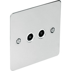 Flat Plate Polished Chrome TV / Satellite Socket TV Twin - 21924 - from Toolstation