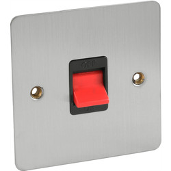 Flat Plate Satin Chrome 45A DP Switch  - 21959 - from Toolstation