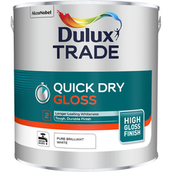 Dulux Trade Dulux Trade Quick Dry Gloss Paint Pure Brilliant White 2.5L - 21987 - from Toolstation