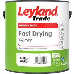 Leyland Trade Leyland Trade Fast Drying Water Based Gloss Paint Brilliant White 2.5L - 22018 - from Toolstation