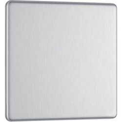 BG BG Screwless Flat Plate Brushed Stainless Steel Blank Plate 1 Gang - 22066 - from Toolstation