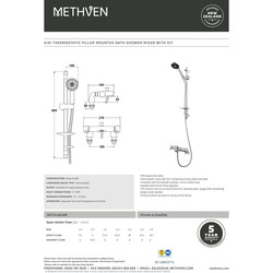Methven Thermostatic Bath Shower Mixer Tap Kit