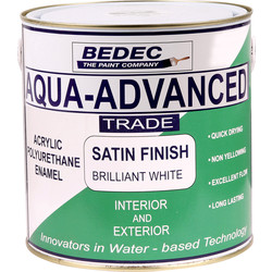 Bedec Bedec Aqua Advanced Satin Paint Brilliant White 1L - 22091 - from Toolstation