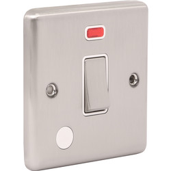 Wessex Wiring Wessex Brushed Steel 20A DP Switch Neon - 22180 - from Toolstation