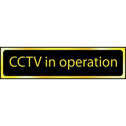 Centurion Brass Effect Door Sign CCTV in Operation - 22187 - from Toolstation