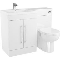 Cassellie 2 Door L-Shaped Bathroom Unit Gloss White Left Hand - 22852 - from Toolstation