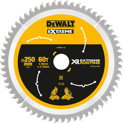 DeWalt DeWalt XR Flexvolt Mitre Saw Blade 250mm x 30mm x 60T - 22897 - from Toolstation