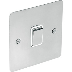 Flat Plate Polished Chrome 10A Switch 1 Gang 1 Way - 22954 - from Toolstation