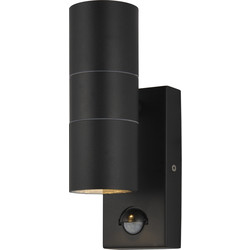 IP44 Up & Down Black Wall Light With PIR