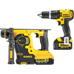 DeWalt DeWalt DCK206M2T-GB 18V XR Combi Drill & SDS Hammer Drill Twin Pack 2 x 4.0Ah - 22971 - from Toolstation