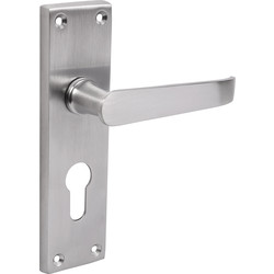 Unbranded Victorian Straight Door Handles Euro Lock Satin - 23089 - from Toolstation