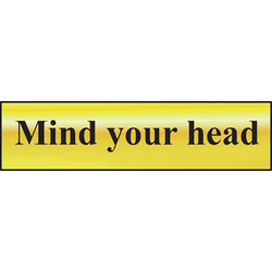 Brass Effect Door Sign Mind your Head - 23223 - from Toolstation