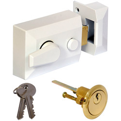 Deadlocking Nightlatch White Standard - 23278 - from Toolstation