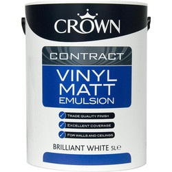 Crown Contract Crown Contract Vinyl Matt Emulsion Paint 5L Brilliant White - 23281 - from Toolstation