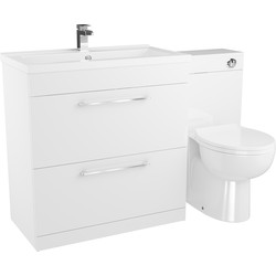 Cassellie 2 Drawer Bathroom Unit Gloss White 1300mm - 23298 - from Toolstation