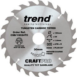 Trend Trend Craft Circular Saw Blade 190 x 24T x 30mm CSB/19024TC - 23326 - from Toolstation