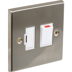 Axiom Satin Chrome / White Switched Spur 13A Switched Neon - 23342 - from Toolstation