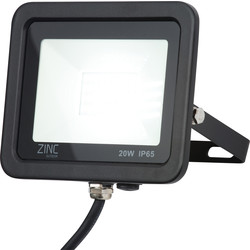 Zinc Zinc Slim LED Floodlight IP65 20W 1600lm 6500k - 23422 - from Toolstation