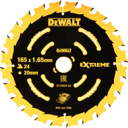 DeWalt DeWalt Extreme Cordless Circular Saw Blade 165 x 20mm - 23753 - from Toolstation