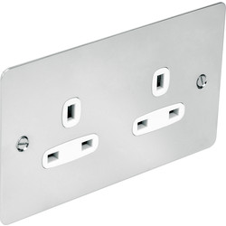 Flat Plate Polished Chrome 13A Socket 2 Gang Unswitched - 23928 - from Toolstation