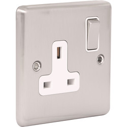 Wessex Wiring Wessex Brushed Stainless Steel 13A DP Switched Socket 1 Gang - 24121 - from Toolstation