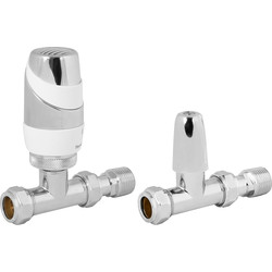 Pegler Yorkshire Pegler Decorative TRV and Lockshield White and Chrome Straight 15mm - 24359 - from Toolstation