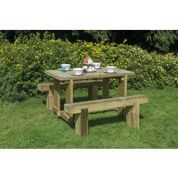 Forest Forest Garden Refectory Table and Sleeper Bench Set 75cm (h) x 120cm (w) x 70cm (d) - 24412 - from Toolstation