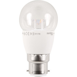 Meridian Lighting LED 5W Clear Globe Lamp BC (B22d) 400lm - 24471 - from Toolstation