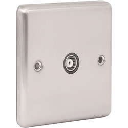 Wessex Brushed Stainless Steel TV Socket