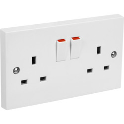 Axiom Switched Socket 2 Gang Single Pole