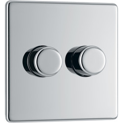 BG BG Screwless Flat Plate Polished Chrome Dimmer Switch 2 Gang 2 Way - 24651 - from Toolstation
