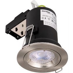 Meridian Lighting Fire Rated Cast GU10 Downlight Satin Chrome - 24968 - from Toolstation