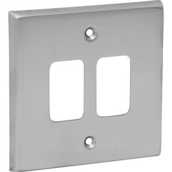 Grid Front Plate Satin Chrome 2 Gang - 25120 - from Toolstation