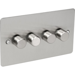 Axiom Flat Plate Satin Chrome Dimmer Switch 250W 4 Gang 2 Way - 25259 - from Toolstation