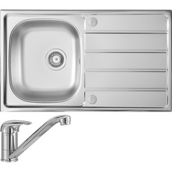 Stainless Steel Compact Single Bowl Kitchen Sink & Drainer With Single Lever Mixer Tap Pack 860mm x 500mm x 170mm
