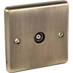 Wessex Electrical Antique Brass TV Point 1 Gang - 25554 - from Toolstation