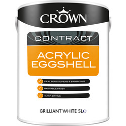 Crown Contract Crown Contract Acrylic Eggshell 5L Brilliant White - 25561 - from Toolstation