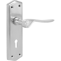 Eclipse Ironmongery Salvesen Door Handles Lock Satin - 26023 - from Toolstation