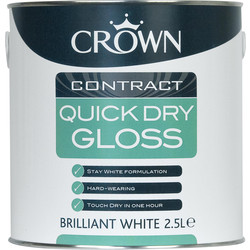 Crown Contract Crown Contract Quick Dry Gloss Paint Brilliant White 2.5L - 26218 - from Toolstation